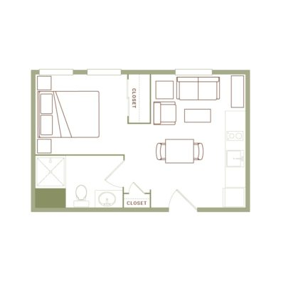 Rendering of the Buell floor plan layout