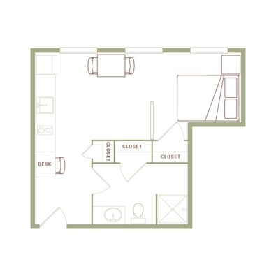 Rendering of the Graves floor plan layout